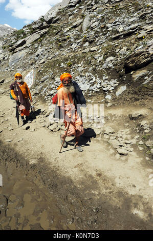 pilgrim sangam to holy cave, amarnath yatra, Jammu Kashmir, India, Asia - Stock Photo
