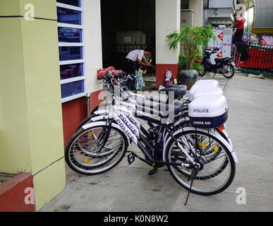 Yangon, Myanmar - Feb 13, 2017. The Police bicycles on street in Yangon, Myanmar. Yangon is the country largest - Stock Photo