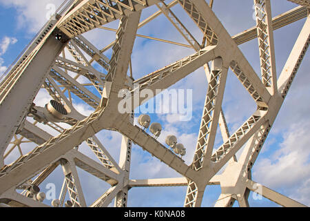 Clark Memorial Bridge or Second Street bridge connecting Louisville, Kentucky and Jeffersonville, Indiana - view - Stock Photo