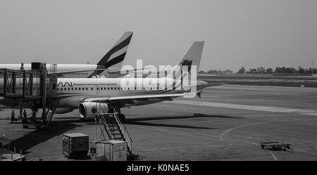 Yangon, Myanmar - Feb 14, 2017. Jet aircrafts at the Yangon Intl Airport in Myanmar. Yangon Airport capacity was - Stock Photo