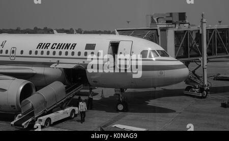 Yangon, Myanmar - Feb 14, 2017. Air China aircraft at the Yangon Intl Airport in Myanmar. Yangon Airport is the - Stock Photo