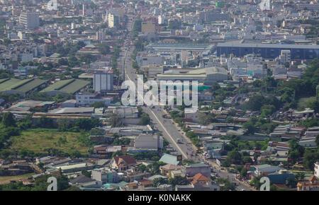 Yangon, Myanmar - Feb 14, 2017. Modern buildings with highways in Yangon, Myanmar. The city area has steadily increased - Stock Photo