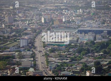 Yangon, Myanmar - Feb 14, 2017. Modern buildings with highways at downtown in Yangon, Myanmar. The city area has - Stock Photo