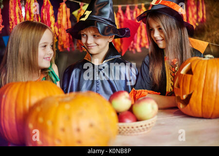 Children having fun during the Halloween - Stock Photo