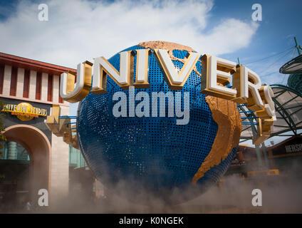 Sentosa, Singapore - June 19, 2010: Universal Studios Singapore Globe in front of the entrance - Stock Photo