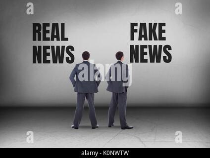 Digital composite of Real news or fake news with Businessman looking in opposite directions - Stock Photo