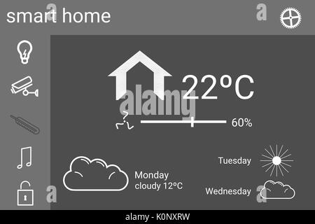 Digital composite of Smart house application interface - Stock Photo