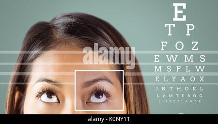 Digital composite of Woman with eye focus box detail and lines and Eye test interface - Stock Photo