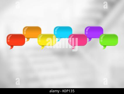 Digital composite of Group of Shiny chat bubbles floating in room - Stock Photo