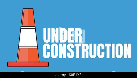 Digital composite of Under construction text with a traffic cone against blue background - Stock Photo