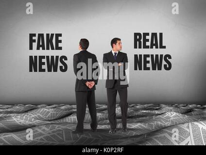 Digital composite of Fake news or real news text with Businessman looking in opposite directions - Stock Photo