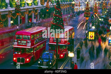 Oxford Street decorated for Christmas, London, England, UK - Stock Photo