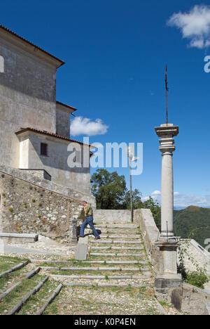 a tourist in Sacro Monte di Varese, Santa Maria del Monte, Lombardy,Italy - Stock Photo
