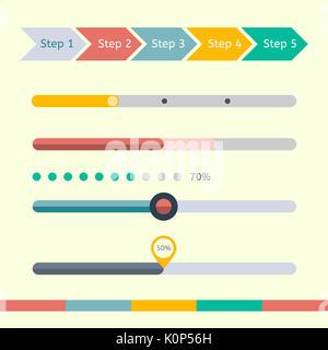 Flat web design progress bars set  illustration Stock Photo