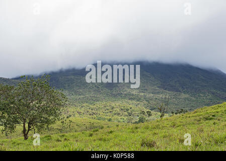 The national park and volcano arenal in the fog, Costa Rica - Stock Photo