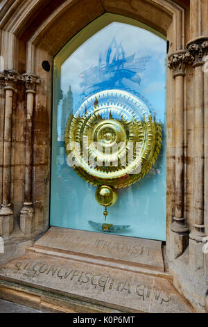 The Corpus Clock Outside The Taylor Library At Corpus Christi College With The Reflection Of Kings College University - Stock Photo