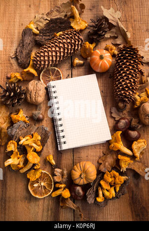 Fall decorations frame with notebook copy-space in the middle, autumn decor with pumpkins, dired leaves, pine cones - Stock Photo
