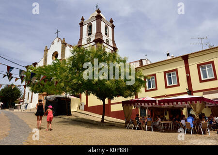 Silves cathedral and street cafe, Portugal - Stock Photo