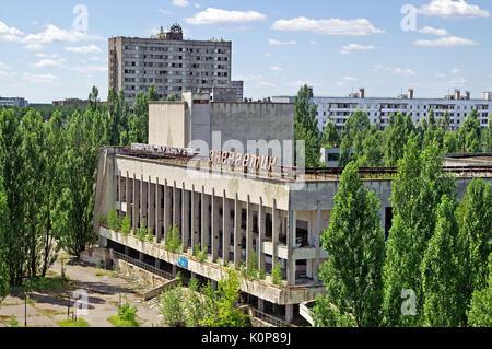 CHORNOBYL, UKRAINE -JULY 15, 2007: Blocks of houses in Pripyat ghost town of Chornobyl Exclusion Zone, Ukraine - Stock Photo