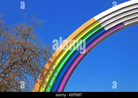 KYIV, UKRAINE - MAY 01, 2017: Arch of Friendship of peoples, painted in colors of the rainbow, in preparation for - Stock Photo