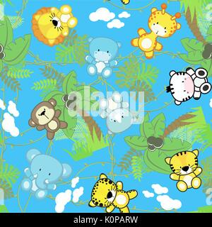 illustration of seamless pattern with cute safari baby animals with jungle plants, design for children on blue background, - Stock Photo