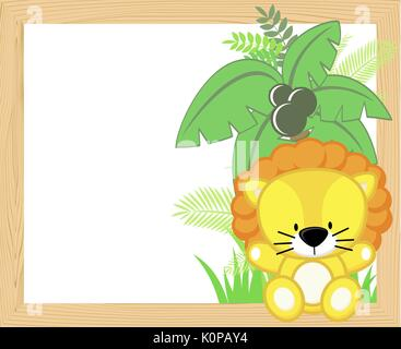 cute baby lion with tropical leaves and palm tree on empty wood frame for copy space, ideal for nursery art decoration - Stock Photo