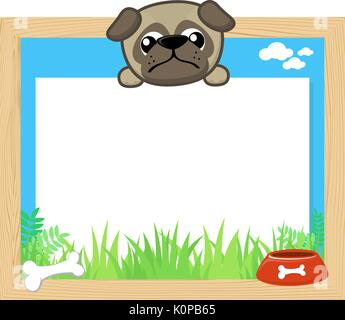 wood frame with cute baby pug and blank board for copy space, design for children - Stock Photo