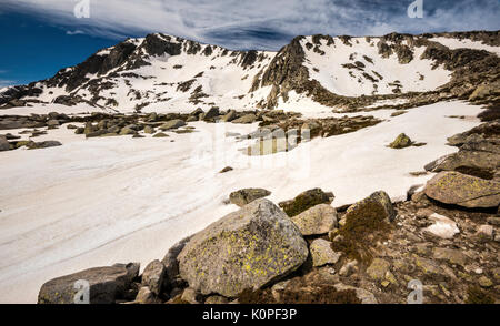Monte Renoso summit over frozen Lac de Bastiani and snow field, in spring, GR 20 variant, Haute-Corse, Corsica, - Stock Photo