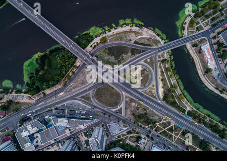 Fragment of the road junction in Kiev near the residential area of Rusanovka - Stock Photo