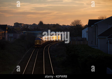 2 Class 37 locomotives depart Morecambe with a Network Rail track inspection train (operated by Colas rail freight) - Stock Photo