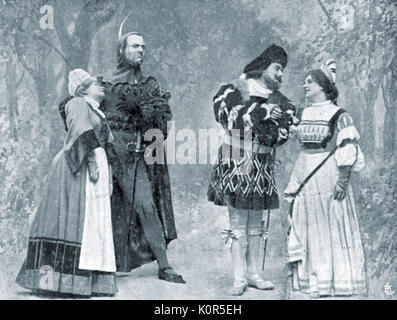 Charles Gounod 's opera 'Faust' - Manfredi as Marta, Fyodor Chaliapin as Méphistophélès, Giovanni Zenatello as Faust - Stock Photo