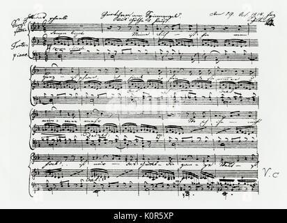 Schubert - score of Gretchen am Spinnrade 1st page of autograph score by Schubert dated October 1814. Franz Schubert - Stock Photo