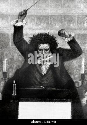 Ludwig van Beethoven conducting with baton - by Katzaroff. German composer 17 December  1770- 26 March 1827 - Stock Photo