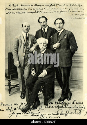 Gabriel Faure  - French composer - with trio Cortot, Thibaud and Casals after rehearsal at L'Ecole normale de Musique. - Stock Photo