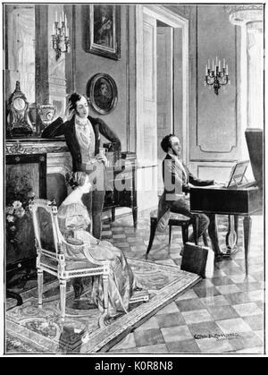 Felix Mendelssohn - portrait of the German composer playing to Victoria & Albert. 3 February 1809 - 4 November 1847. - Stock Photo