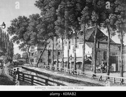 London - the Sadler's Wells Theatre. Exterior. Caption reads: 'Aquatic Theatre, Sadler's Wells'. - Stock Photo