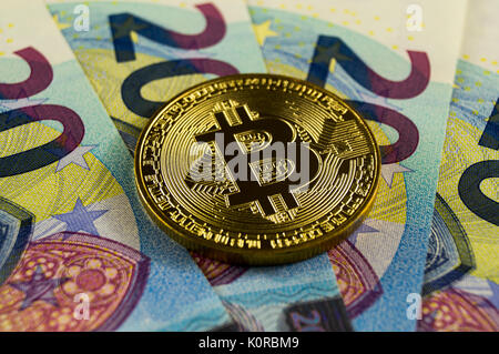 Bitcoin is a modern way of exchange and this crypto currency is a convenient means of payment in the financial and - Stock Photo