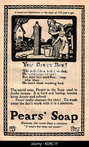 A 1916 advert for Pear's Soap in the form of an old woodcut showing a woman washing a child at an outside water - Stock Photo
