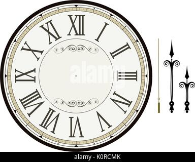 vintage clock face template with hour, minute and second hands to make your own time isolated on white background - Stock Photo