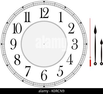clock face template with hour, minute and second hands to make your own time isolated on white background - Stock Photo