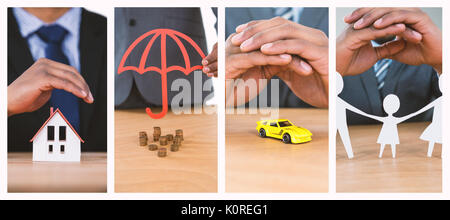 hand protecting a family in paper against businessman protecting house model with hands - Stock Photo
