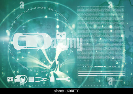 Vector image of tools and car against abstract blue pattern - Stock Photo