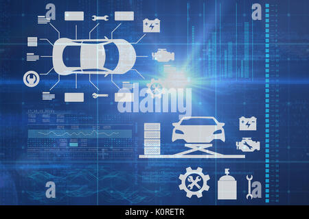 Digital composite image of cars and tools against blue data - Stock Photo