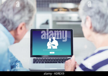 Human representations with live support text against senior couple looking at laptop at home - Stock Photo