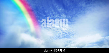 Digital composite image of rainbow against tranquil scene of overcast against sky - Stock Photo