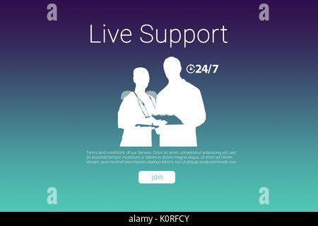 Live support text with human representations against turquoise and purple background - Stock Photo