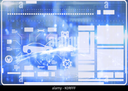 Digital composite image of car and tools against glowing matrix - Stock Photo