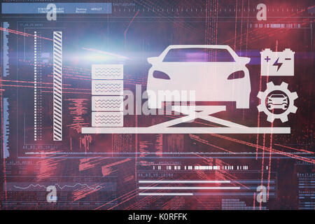 Composite image of car and tools against illustration of virtual data - Stock Photo