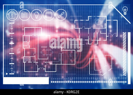 Digitally generated image of house blueprint against computer screen with wallpaper - Stock Photo