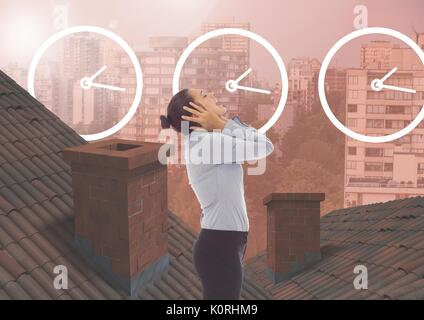 Digital composite of Clock time icons and Businesswoman standing on Roofs with chimney contrasting with apartment - Stock Photo